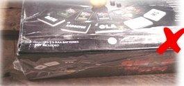 Beschädigte oder fehlende Verkaufsverpackung (wie zum Beispiel Schrumpffolie oder Plastikumverpackung)